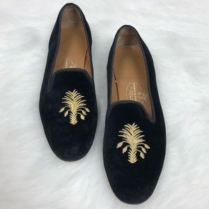 Stubbs & Wootton Black & Gold Velvet Flat Loafers